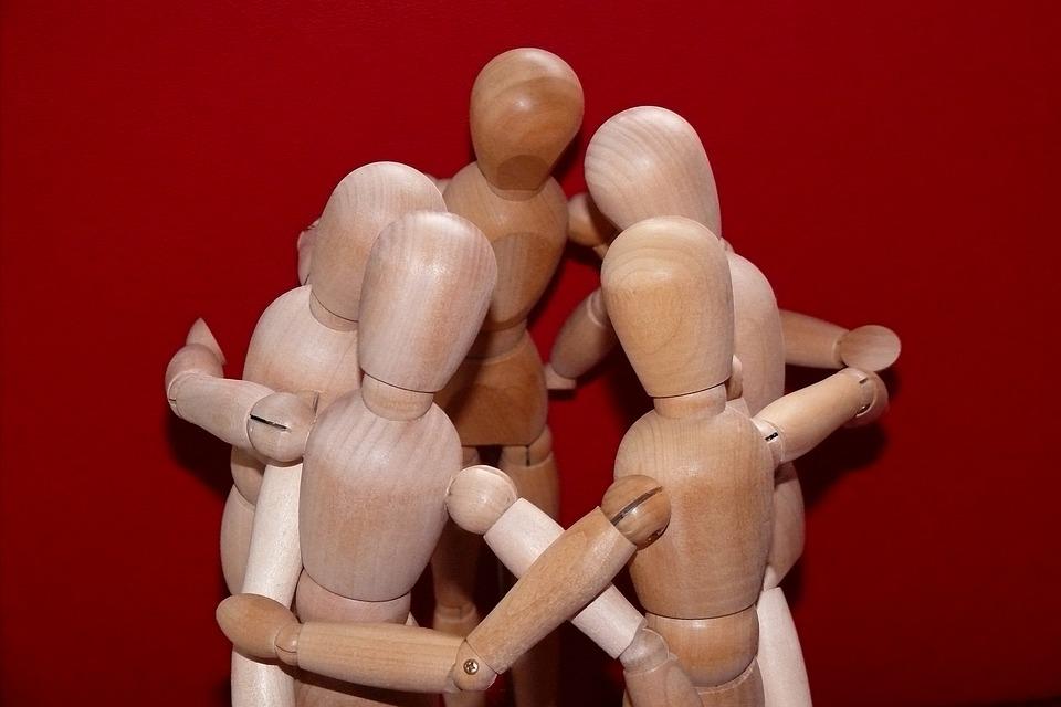Hombre Articulado, Reunión, Juntos, Grupo, Personales