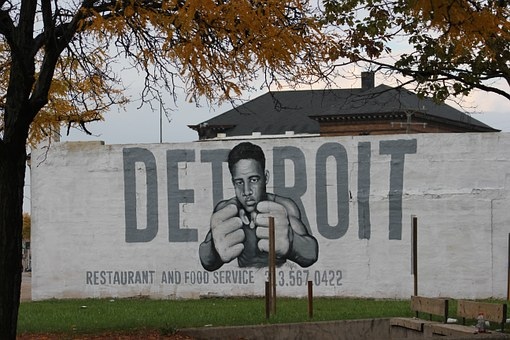 Detroit Graffiti Joe Louis Building Michig