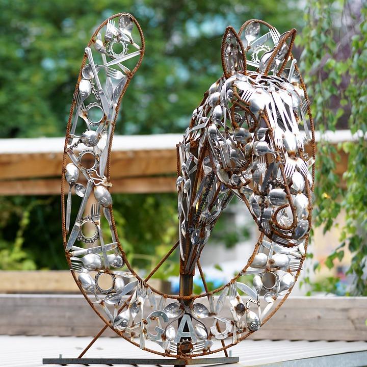 Horse Head, Horseshoe, Cutlery, Art, upcycling ideas, upcycled silverware