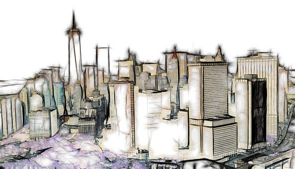 Skyline New York Drawing Stylish Abst