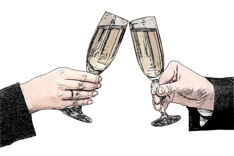シャンパングラス, シャンパン, 女性の手, 男の手, 手, アルコール, スパーク リング ワイン, 接して