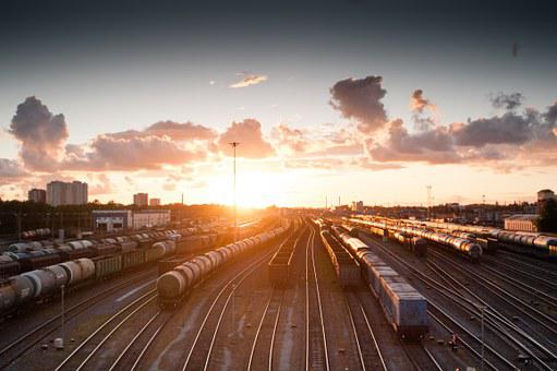 Train, Sunset, Tracks, Railroad