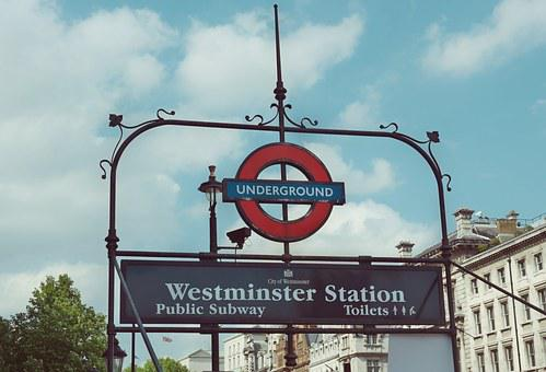 Metro Sign London Station Westminster Tran