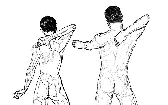 に移動, 女性, 男, ボディ, 背中の痛み, 背骨, 肩甲骨, 腰, 裸