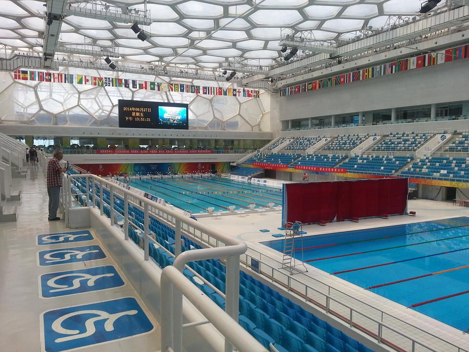 Water cube swimming pool china free photo on pixabay for How much is an olympic swimming pool