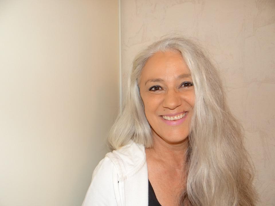 Kobieta, Siwe Włosy, Portret, Trenera, Coachingu