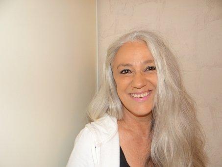 Femme, Cheveux Gris, Portrait