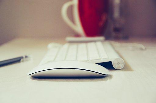 コンピュータ, マウス, キーボード, 技術, インターネット, ホワイト