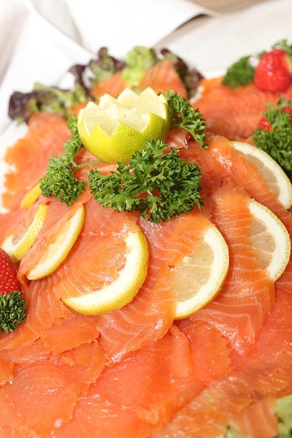 Free photo salmon fish buffet cold buffet free image for Dekoideen sideboard