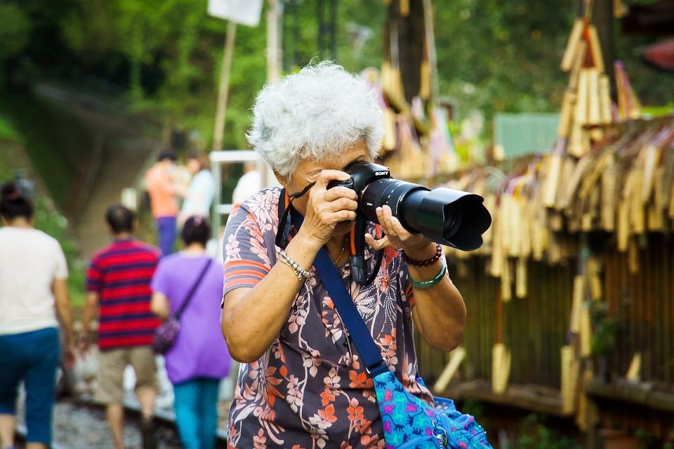 おばあちゃん, ソニー, デジタル一眼レフ, カメラ, 70, 高齢者, 60, グレー