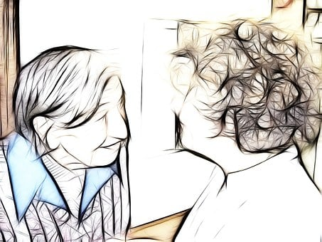 Dependent, Dementia, Woman, Talk