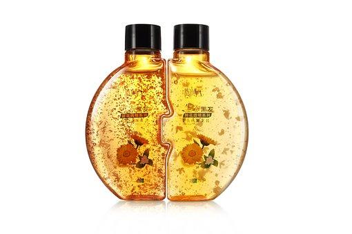 Shampoo Liquid Bottle Tube Yellow Gold Wat