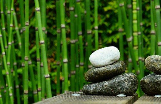 Piedras, Bambú, Decoración, Jardín