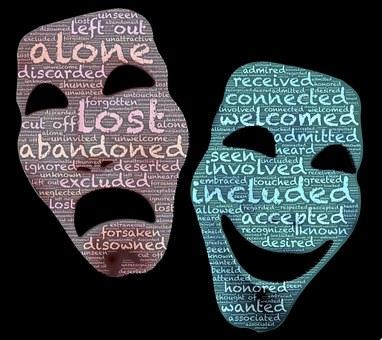 マスク, ペルソナ, 双対性, 極性, 反対, ドラマ, 信念, 接続, 所属