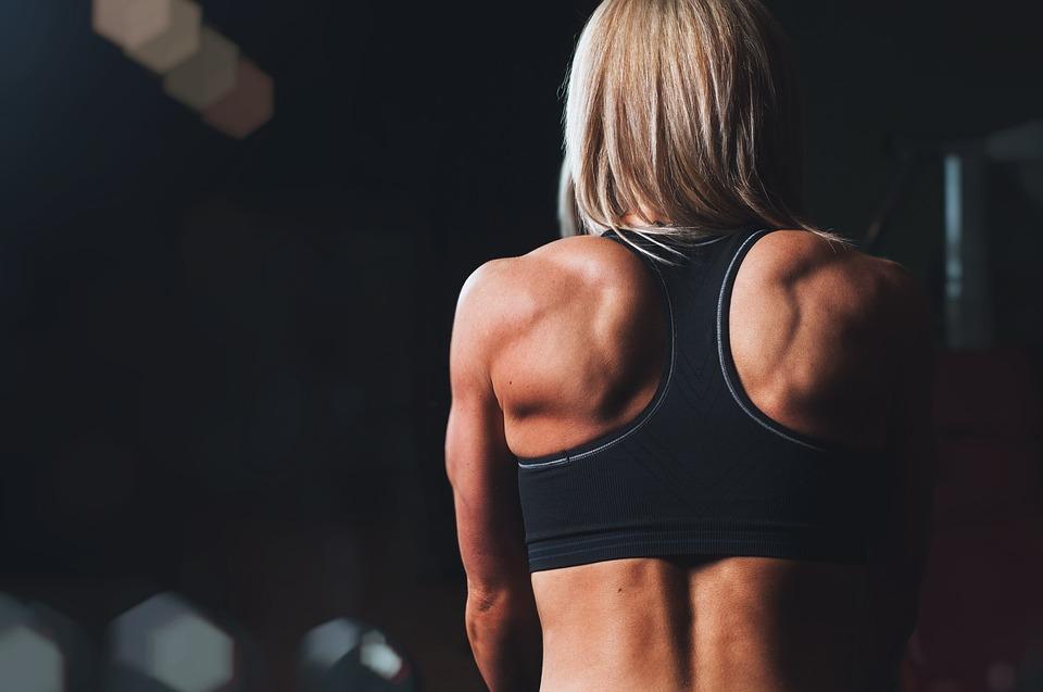 トレーニング, Rmuscles, 戻る, 肩, 金髪, フィットネス, 運動, スポーツ, ジム, 強力な