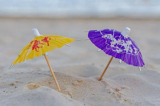 夏, 太陽, スタンド, 自然, ビーチ, 休日, パラソル, 砂, 水, 海