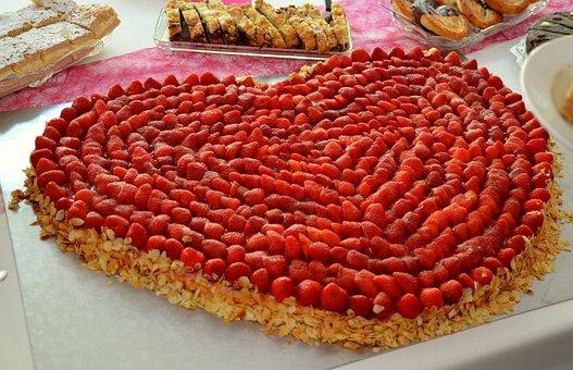 Erdbeeren, Erdbeerkuchen, Herz, Torte