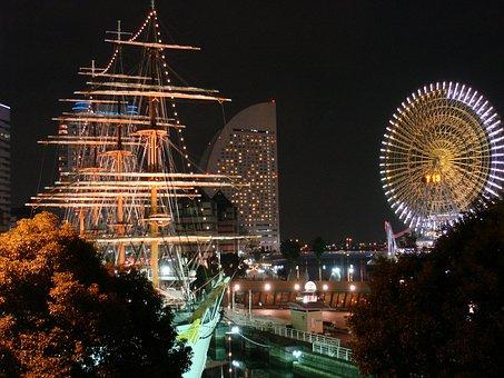 横浜, 夜景, 日本, 旅行, 交通信号灯, 船, ステアリング ホイール