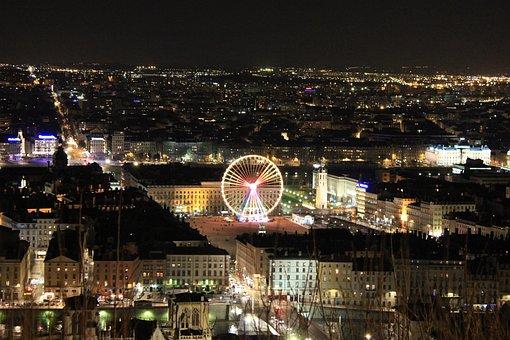 France, Lyon, Nuit, Ville, Lumières