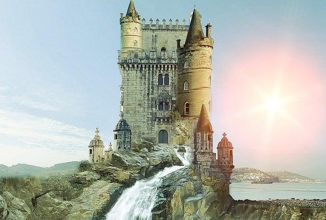 Castle Waterfall Fantasy 183 Free Image On Pixabay