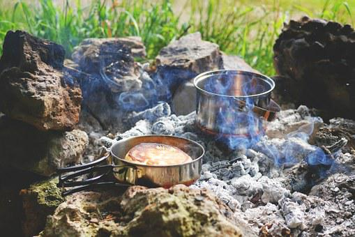 Fire, Campfire, Tent Camp, Stock, Camp
