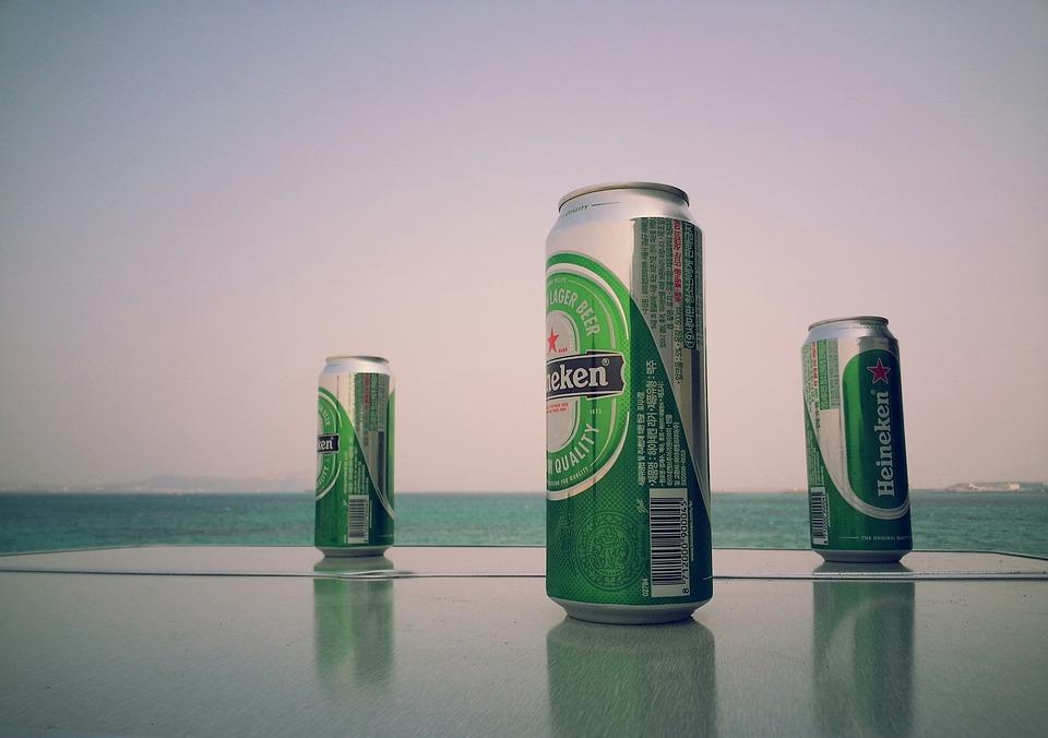 Heineken, Cerveza, Latas, Mar