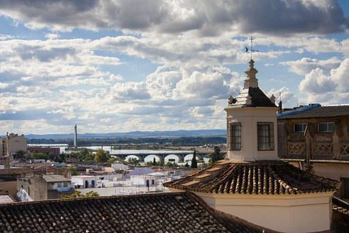 Qué ver qué hacer en Extremadura, Vista de Puente de Palmas desde la distancia Badajoz
