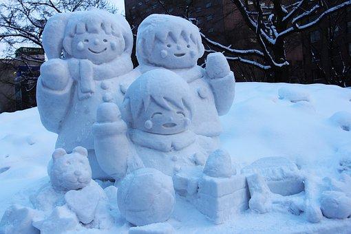 雪の彫刻, 雪の芸術, 祭り, 年間, 彫刻, 漫画, 驚くべき, 美しい, 冬