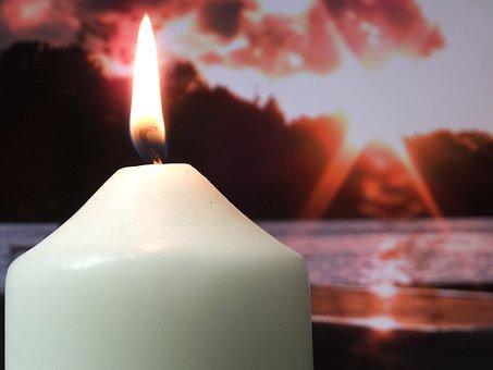 Trauer, Kerze, Licht, Sonnenuntergang