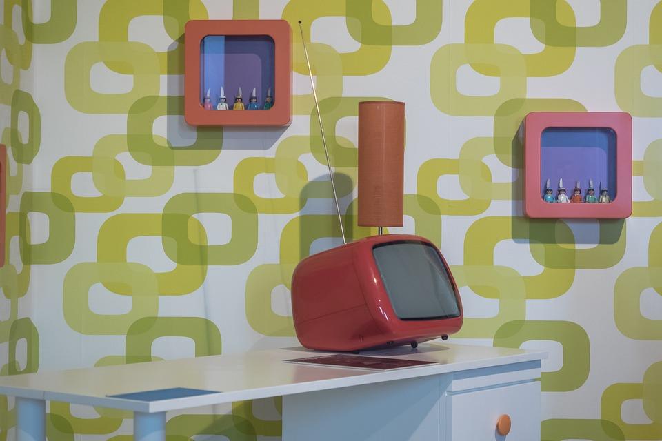 living room cult 70s wallpaper retro form texture - 70s Living Room