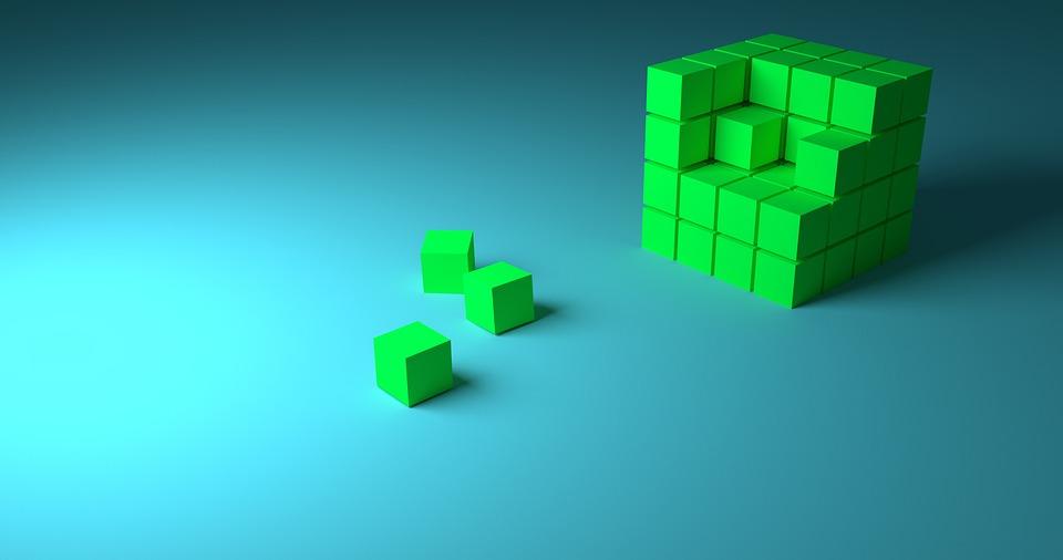 キューブ, 手順, 進行状況, ビルド, 3 D, ブロック