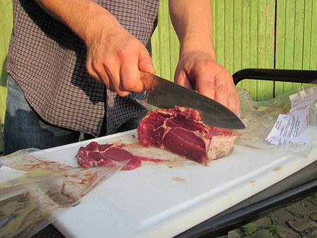 Beef, Meat, Bbq, Slices, Cutting, Knife