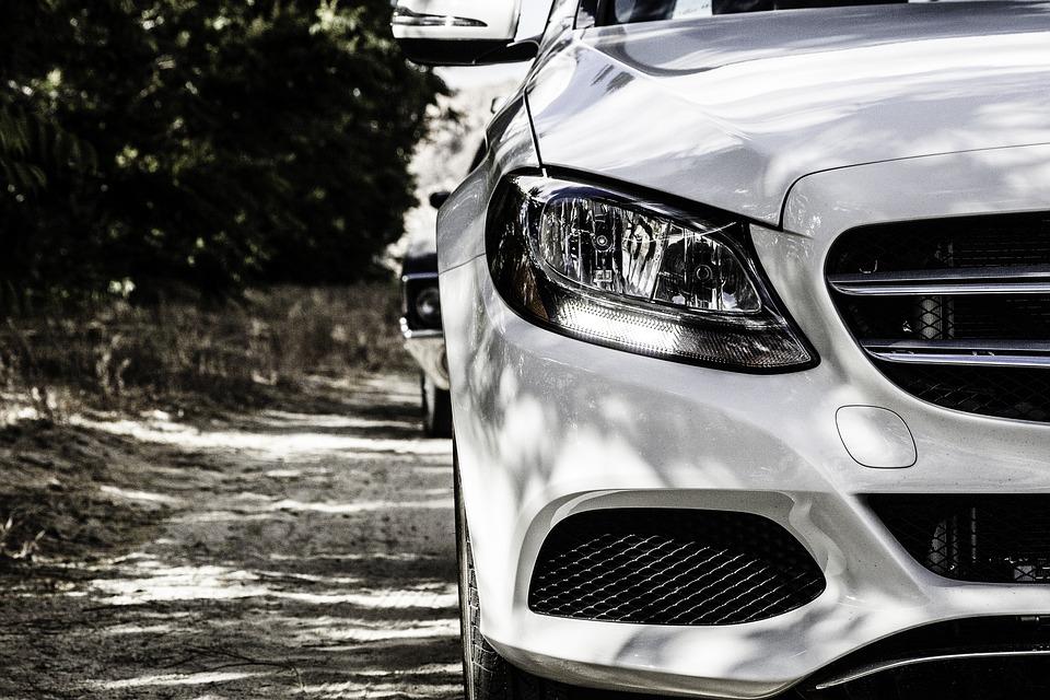 メルセデス ・ ベンツ, 車, ホワイト, 白い車, ヘッドライト, 車両, 交通, 自動車, モータ