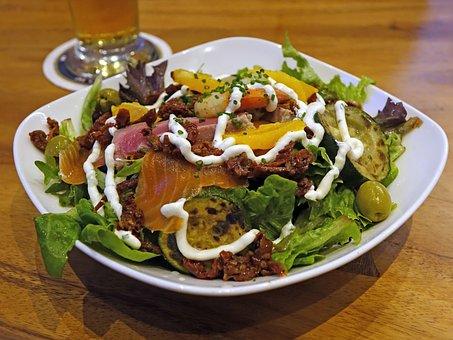 Salad, Vegetables, Smoked Salmon, Green