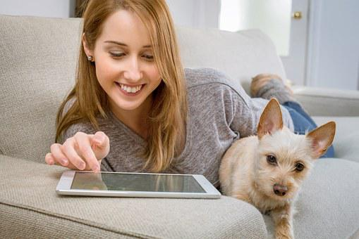 Tablet, Living Room, Dog, Woman, Girl