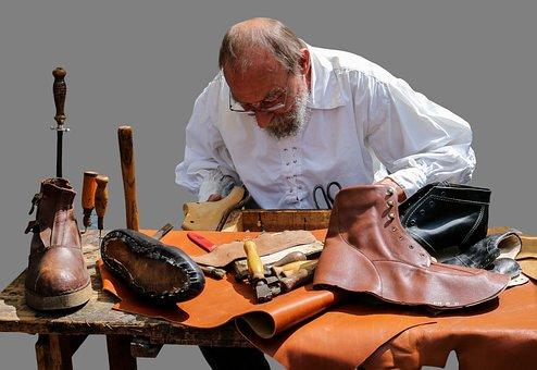 靴屋, 中世, 革, 靴, ブーツ, 孤立しました, ニュルンベルク, ツール