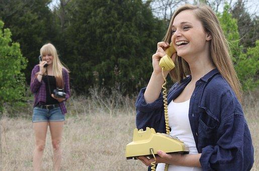 話, 電話, 通信, 呼び出す, 若いです, 会話, 接続, 幸せ, 女性