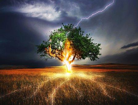 フラッシュ, 雷横糸, 影響, 天気, 嵐, 暗い, 雷雨, 夕暮れ, 脅迫