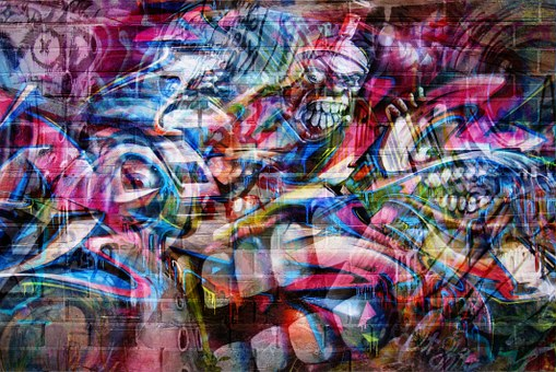 Wall Graffiti Art Background Abstrak