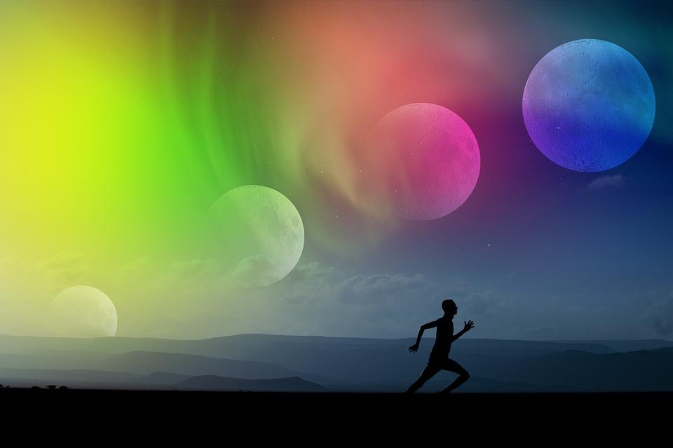 Sport, Maan, Maanfase, Stemming, Run, Silhouet, Lopers