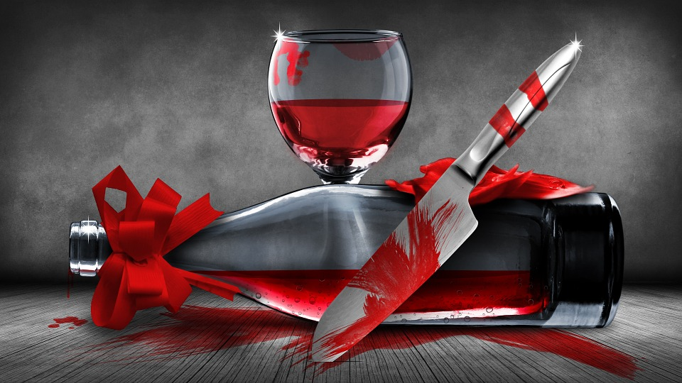 Still Life, Wine, Bottle, Wine Glass, Knife, Blood
