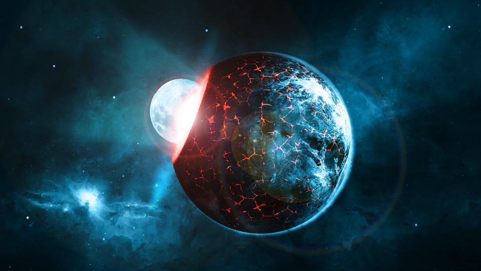 Free illustration: Planet, Earth, Moon, Impact - Free