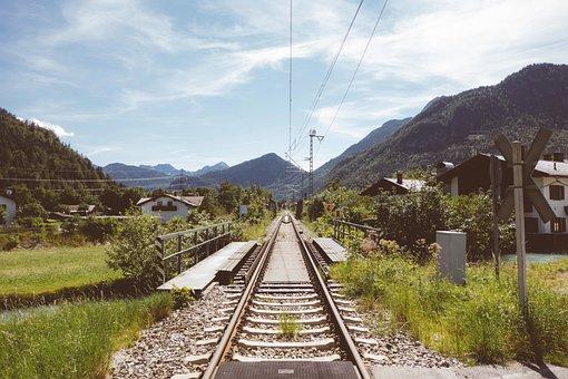 トラベル, 旅, 旅行, レール, 鉄道, 列車, 輸送, 山, 谷, 牧草地
