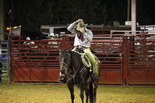 Cowboy, Rodeo, Horse, Hat, Cowboy