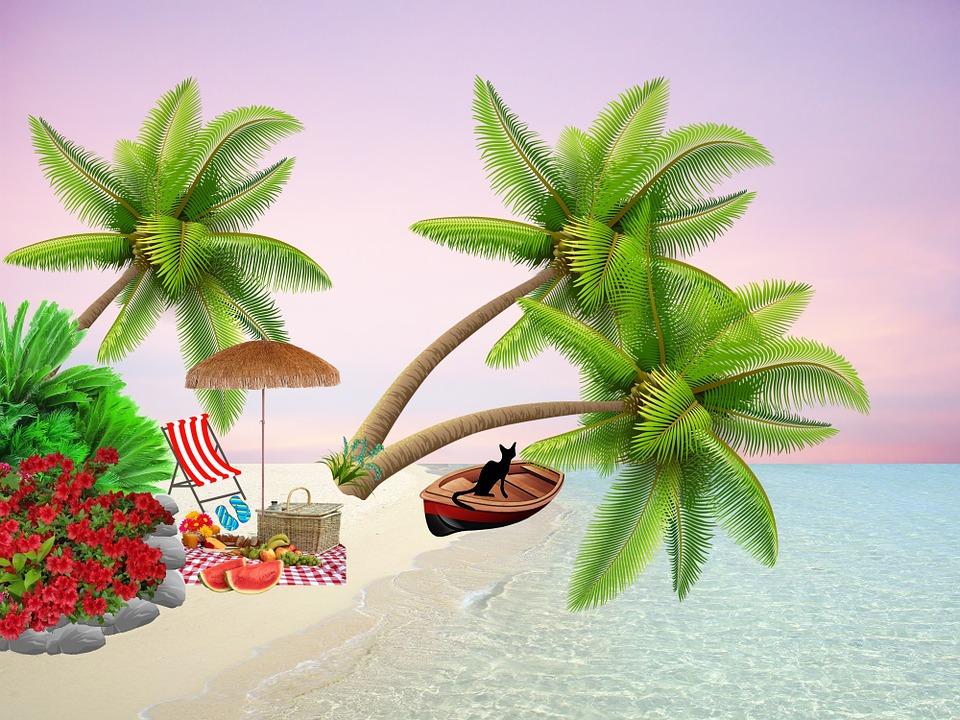 illustration gratuite plage pique nique barque buisson. Black Bedroom Furniture Sets. Home Design Ideas