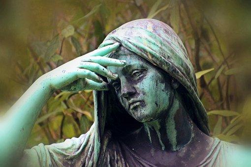 女性, 女性の肖像画, 頭, 喪, 絶望, 彫刻, 墓地, 墓, 芸術の肖像画