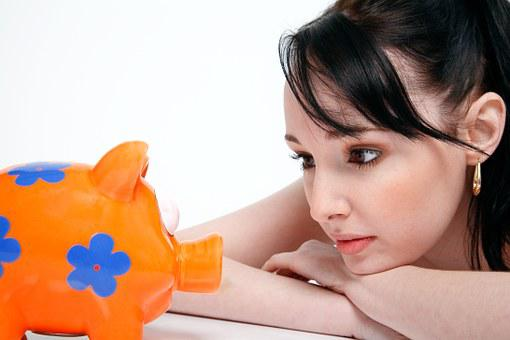 Piggy Bank, Saving, Money, Young Woman