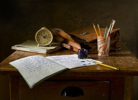 Still Life, School, Retro, Ink, Table