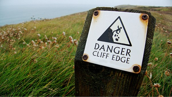 Danger, Cliff, Edge, Sign, Warning, Risk