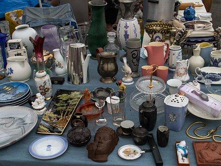 Flea Market, Stand, Cup, Glasses